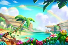 Desert, Oasis and Mountain, River with Fantastic, Realistic Style. Video Game`s Digital CG Artwork, Concept Illustration, Realistic Cartoon Style Scene Design stock illustration