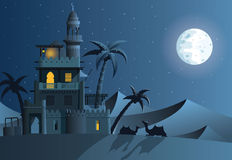 Desert oasis. In the night Stock Images