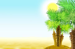 Desert oasis with palm trees Stock Photography