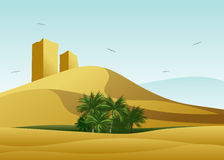 The desert and oasis with palm trees. Stock Image