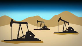 Desert oil field 1 blue stock footage