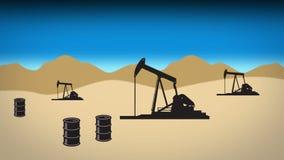 Desert oil field 2 blue stock footage