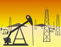 Desert Oil Field Vector Royalty Free Stock Image