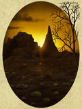 Desert Oval Vista - Digital Painting. Digital painting of the sun rising over distant rock formations in a desert Stock Photography