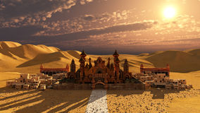 Desert Palace. A dreamy palace in the middle of a hot desert royalty free illustration