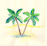 Desert With Palms. Watercolor illustration of desert with palms Royalty Free Stock Photos