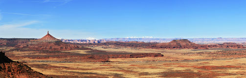 Desert panorama. From the Indian Creek area of Utah with the Canyonlands needles district and north six shooter tower Royalty Free Stock Photography