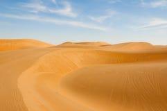 Desert panorama. Sand dunes in the desert near Dubai Stock Images