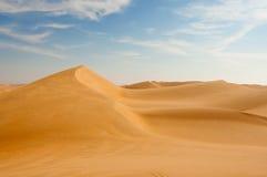 Desert panorama. Sand dunes in the desert near Dubai Stock Photos