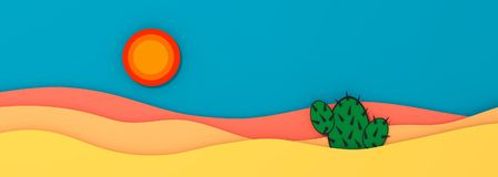 Desert panorama landscape with cactus and sun 3D illustration. Copy space Royalty Free Stock Images