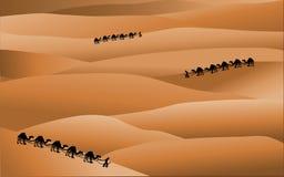 Desert panorama. Sand desert panorama with caravan silhouettes and dunes stock illustration