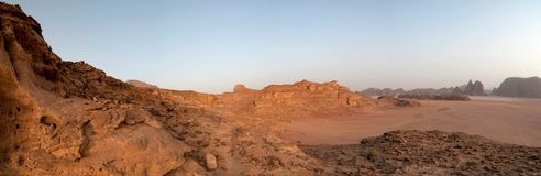 Desert panorama - Wadi Rum, Jordan Royalty Free Stock Image