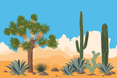 Desert pattern with joshua trees, opuntia, agave, and saguaro cacti. Mountains background. Stock Photography