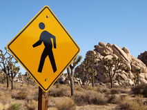 Desert Pedestrian Crossing Sign. Pedestrian crossing sign in the middle of California's Joshua Tree National Park Stock Photo