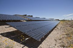 Desert Photovoltaic. Photovoltaic solar panels at Red Rock Canyon National Conservation area park in Southern Nevada, USA Stock Image