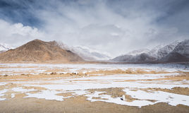 Desert plain snow mountain Stock Image