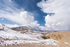 Desert plateau snow mountain Royalty Free Stock Images