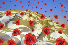 Desert poppies. Background made of camouflage material being rained on with poppies Royalty Free Stock Photography