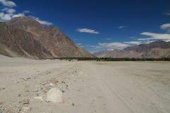 Desert portion at  Hunder in Leh, Ladakh,  India Stock Photo