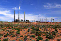 Desert power plant. Royalty Free Stock Photography