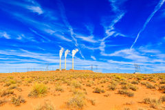 Desert power plant. Desert landscape in Arizona with a power plant in the background Stock Images
