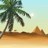 Desert with pyramid Stock Images