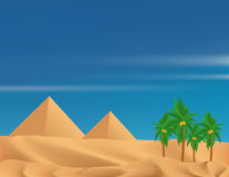 Desert and Pyramids. Pyramids, desert, palm, trees, sand, dunes Royalty Free Stock Image