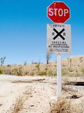 Desert Railroad. Desert rural railroad crossing with signage Stock Photography