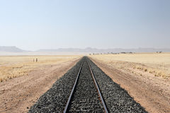 Desert Railroad. Railroad tracks in the desert in Namibia royalty free stock images