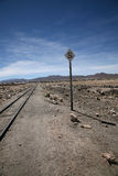 Desert Railway sign. In Uyuni, Bolivia royalty free stock image