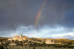 Desert Rainbow. Rainbow over a southwest desert stock image
