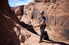 Desert Rappeling Royalty Free Stock Photography