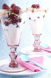 Desert with raspberry and cream Royalty Free Stock Images