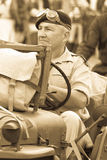 Desert Rat soldier in jeep Royalty Free Stock Photo