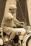 Desert Rat soldier on motorbike Royalty Free Stock Image