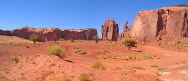 Desert with red rocks. And ground - Monument Valley National Park - United States - Panorama Royalty Free Stock Image