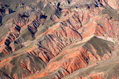 Desert Ridges. This was taken from a helocopter above the desert in Nevada Royalty Free Stock Photography