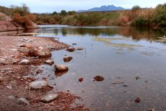 Desert River. River in the winter Arizona desert mountains Royalty Free Stock Photos