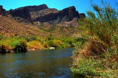 Desert River. River in the winter Arizona desert mountains Royalty Free Stock Image