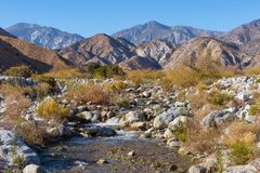 Desert river flowing at Whitewater Preserve. The Whitewater River in the Whitewater Preserve north of Palm Springs, California. The river flows from the San Royalty Free Stock Image
