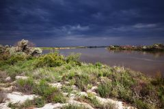 Desert river after storm Royalty Free Stock Image