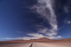 Desert Road. Empty road in southern part of bolivian Altiplano Stock Images