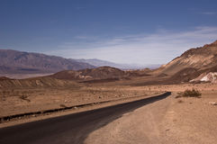 Desert Road. Road into the Artist Palette of Death Valley National Park stock images