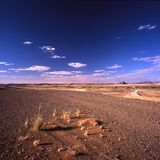 Desert road. Desolate road in rugged desert landscape Royalty Free Stock Photo