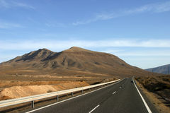 Desert road. On Fuerteventura on canary Island Royalty Free Stock Photo
