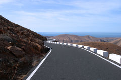 Desert road. On Fuerteventura on canary Island Royalty Free Stock Image