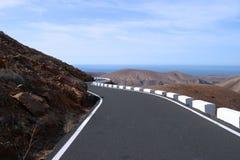 Desert road. On Fuerteventura on canary Island royalty free stock image