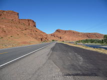 Desert road. Cycling through the deserts of Wyoming stock image
