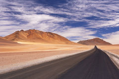 Desert road through the Altiplano, Chile, altitude 4700m Stock Images