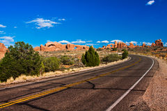 Desert Road in Arches National Park,Utah Royalty Free Stock Photo